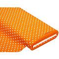 """Baumwollstoff Tupfen """"Mona"""", orange/weiß, 5 mm Ø"""