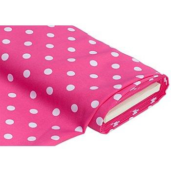 Tissu polyester 'pois', rose vif/blanc