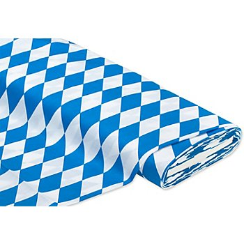 Baumwollstoff 'Raute', blau/weiss