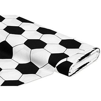 Baumwollstoff Fußball, weiß/schwarz