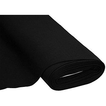 Sweatstoff 'Basic' mit gerauter Innenseite, schwarz