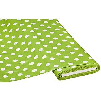 Abwaschbare Tischwäsche - Wachstuch Tupfen, hellgrün/weiß