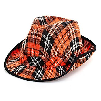 Chapeau trilby à carreaux écossais, orange