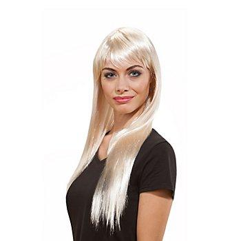 Perruque cheveux longs avec frange, blond