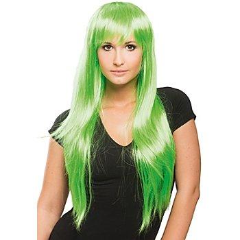 Perruque à cheveux longs, vert fluo