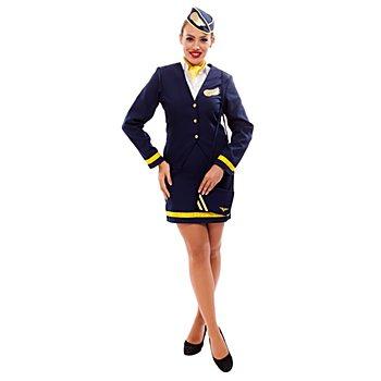 Déguisement 'hôtesse de l'air', bleu marine/jaune
