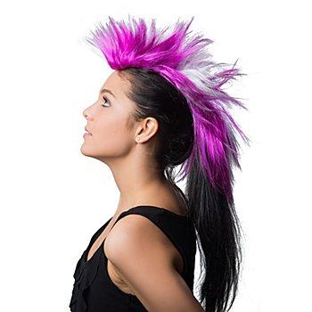 Crête de punk, violet/blanc