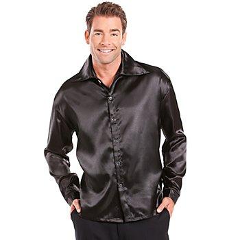 Satin-Hemd, schwarz