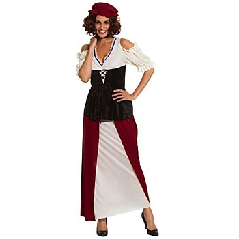 Déguisement 'paysanne médiévale', blanc/noir/rouge