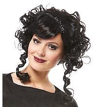 Perruque 'baroque' femme, noir