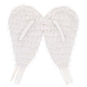 Ailes d'ange, 50 x 50 cm, avec plumes, blanc