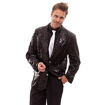 Pailletten-Jacket, schwarz