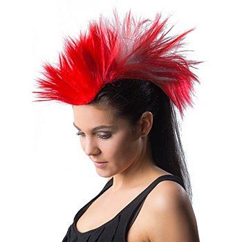Irokesen-Haarteil, rot/weiss
