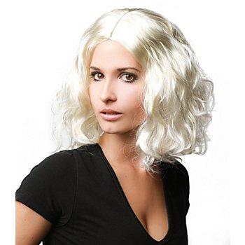 Perruque à cheveux bouclés, blond platin
