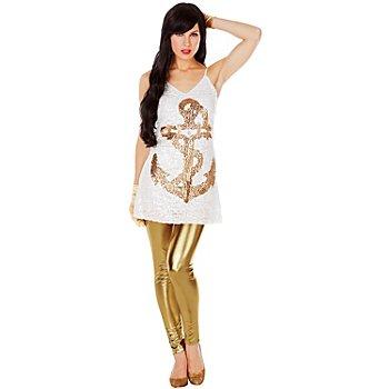 Paillettenkleid Matrosin, weiss/gold