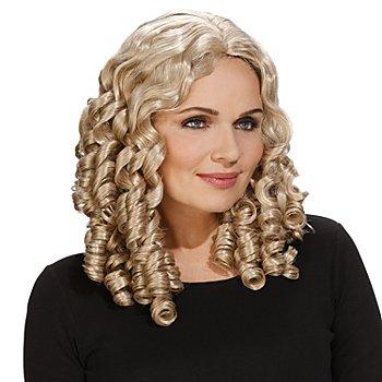 Perücke mit Korkenzieherlocken, blond