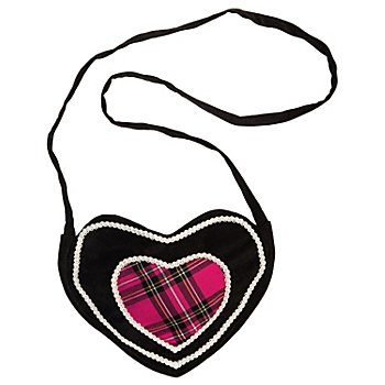 Sac à bandoulière 'cœur à carreaux', noir/rose vif