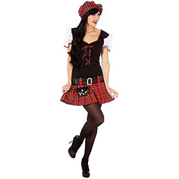 Kostüm Schottin, schwarz/rot