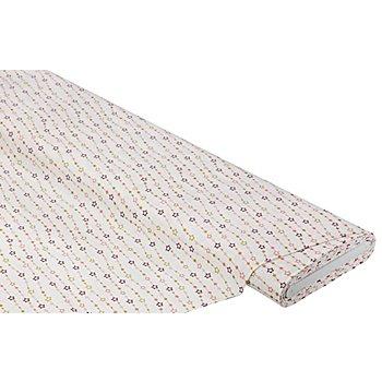 Baumwollstoff Sternenkette 'Mona', weiß/gold/rosa