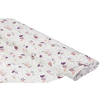 Tissu coton 'ange/maison/étoile', vieux rose/gris