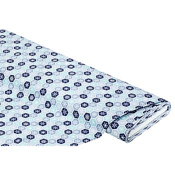 Baumwollstoff Kristalle im Sechseck 'Mona', blau/türkis