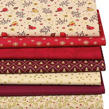 Patchwork- und Quiltpaket 'Weihnachten', rot/gold