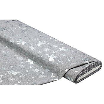 Tissu de décoration 'anges & étoiles', gris/argent