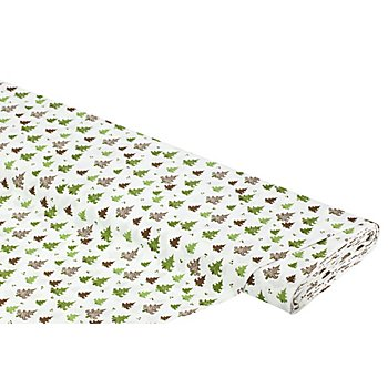Baumwollstoff Weihnachtsbäume 'Mona', weiß/grün