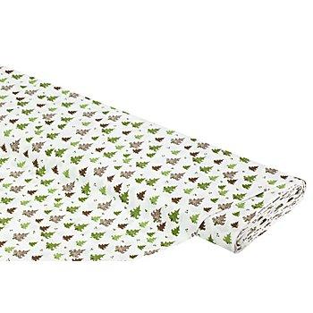 Tissu coton 'sapins de Noël', blanc/vert
