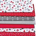 """Lot de 7 coupons de tissu patchwork """"forêt hivernale"""", rouge multicolore"""