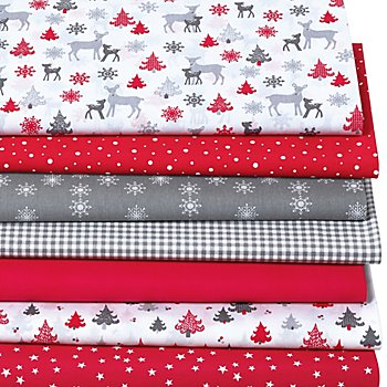 Lot de 7 coupons de tissu patchwork 'forêt hivernale', rouge multicolore