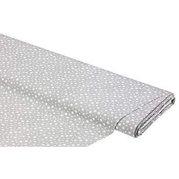Baumwollstoff Sternchen 'Mona', grau/weiß