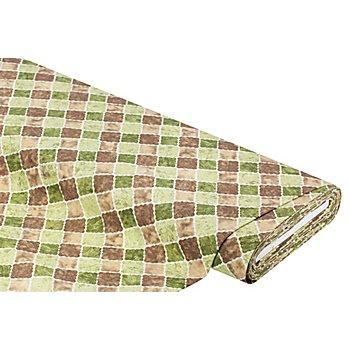Dekostoff 'Kacheln', grün/braun