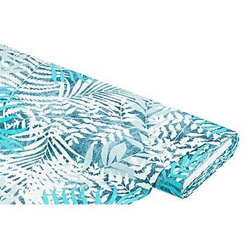 Dekostoff Tropische Blätter 'Lorena', blau-color