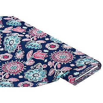 Tissu universel 'fleurs', bleu foncé multicolore