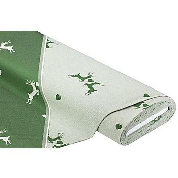 Jacquard 'Hirsche & Herzen', grün/natur