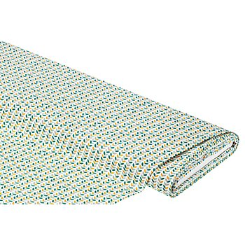 Tissu coton 'ramage de feuilles', vert/ambre