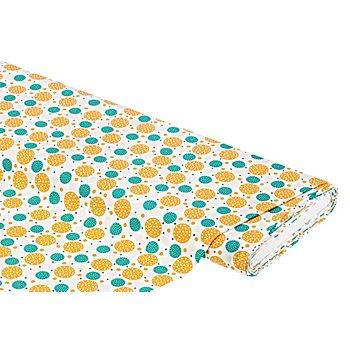 Tissu coton 'cercles Valence', ambre/vert
