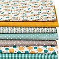 """Lot de 7 coupons de tissu patchwork """"paresseux"""", ambre multicolore"""