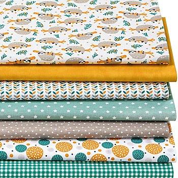 Lot de 7 coupons de tissu patchwork 'paresseux', ambre multicolore