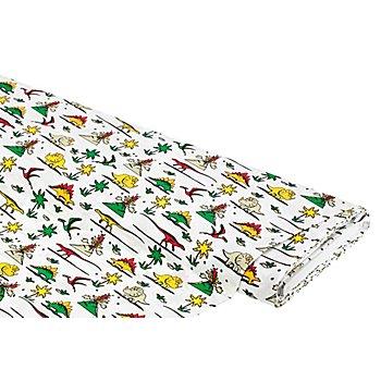 Baumwollstoff Dino 'Mona', weiß-color