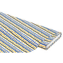 Baumwollstoff Streifen/Dreiecke 'Mona', blau/gelb