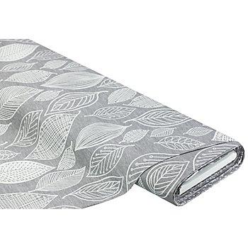 Tissu canevas en pur coton 'feuilles', gris/blanc