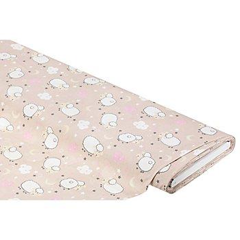 Tissu coton 'moutons', taupe multicolore