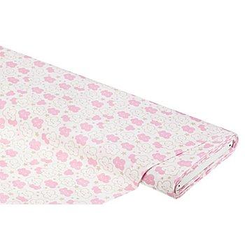 Baumwollstoff Wölkchen & Sterne 'Mona ', weiß/rosa