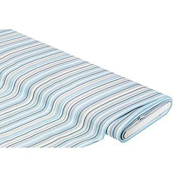 Baumwollstoff 'Multistripe', blau/grau