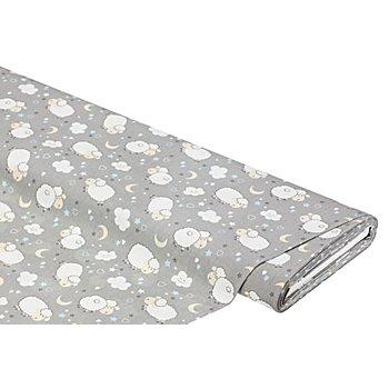 Tissu coton 'moutons', gris multicolore