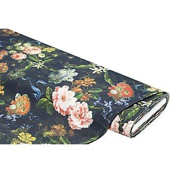 Tissu de décoration 'fleurs au style vintage', noir multicolore