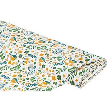 Baumwollstoff Vögel & Blätter 'Mona', weiß/ocker/grün