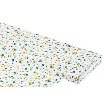 Tissu coton 'fleurs', blanc/ocre/vert